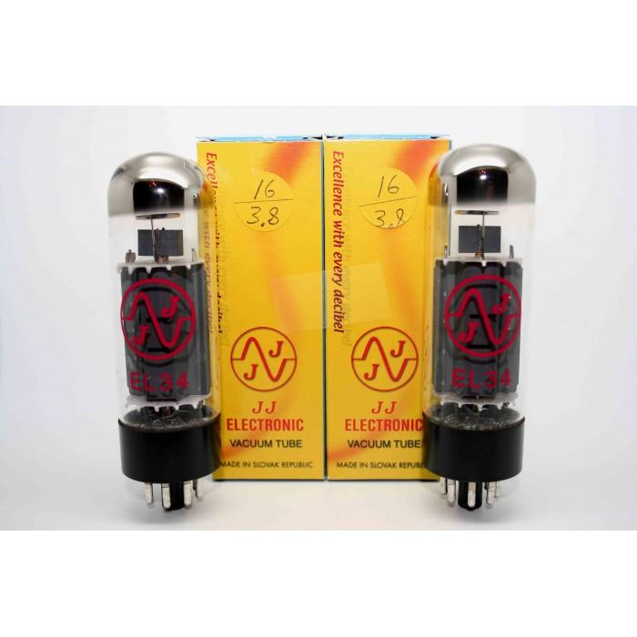 MATCHED PAIR JJ ELECTRONICS EL34 VACUUM TUBE AMP - VALVULA DE VACIO