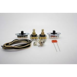 FENDER MUSTANG VINTAGE WIRING KIT WITH BLACK SWITCHES - CTS POT AND ORANGE DROP