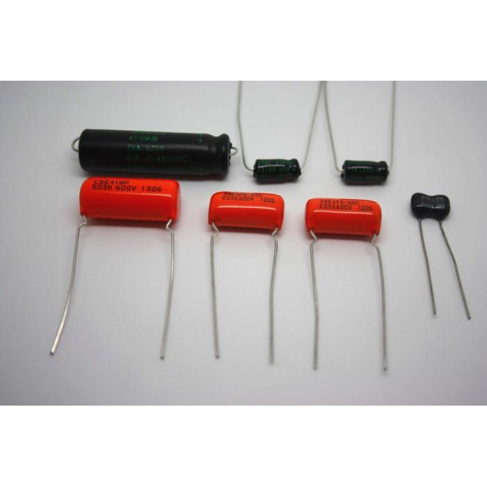 CAPACITOR KIT FOR FENDER CHAMP-AMP 5E1 MODEL - CAP JOB - F&T SPRAGUE ORANGE ATOM