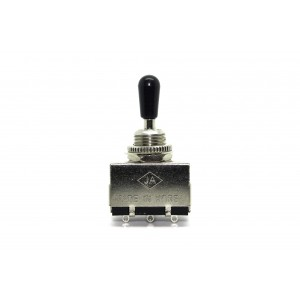 JA KOREA CHROME 3 WAY TOGGLE SWITCH BOX WITH BLACK TIP CAP FOR GIBSON - EPIPHONE LES PAUL AND SG TYPE