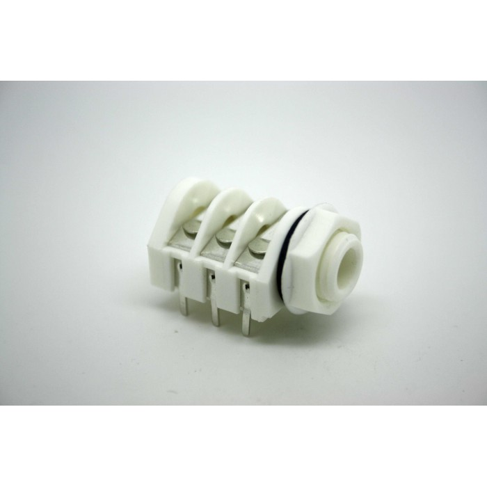 """GENUINE WHITE JACK CLIFF UK STEREO SWITCHED 1/4"""" 6.35mm PC MOUNT PLASTIC"""