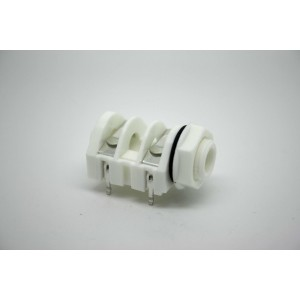 "GENUINE WHITE JACK CLIFF UK MONO SWITCHED PLASTIC NUT 1/4"" 6.35mm PC MOUNT"