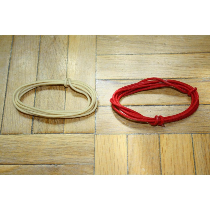 2 Mt RED & WHITE GUITAR ELECTRIC 22 AWG VINTAGE CLOTH COVERED WIRE - CABLE INTERNO GUITARRA