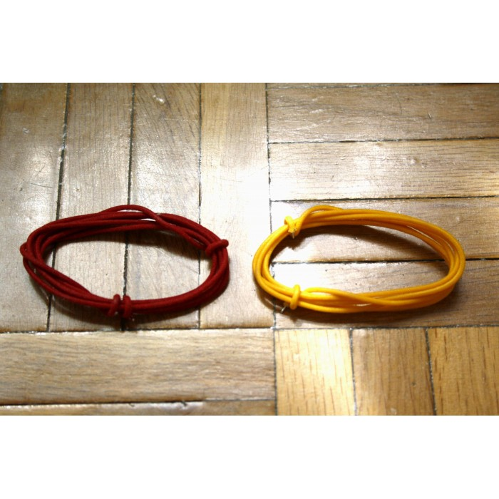 2 Mt RED & YELLOW GUITAR ELECTRIC 22 AWG VINTAGE CLOTH COVERED WIRE - CABLE INTERNO GUITARRA
