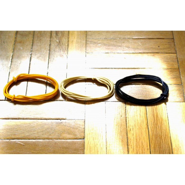 3 Mt GUITAR ELECTRIC YELLOW & WHITE & BLACK 22 AWG VINTAGE CLOTH COVERED WIRE FOR VERY OLD GUITARS