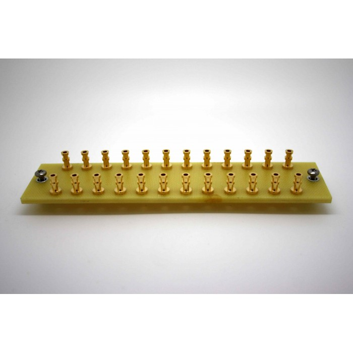 YELLOW TURRET BOARD 130mm x 30mm LOADED WITH 24 TURRETS FOR TUBE AUDIO PROJECTS