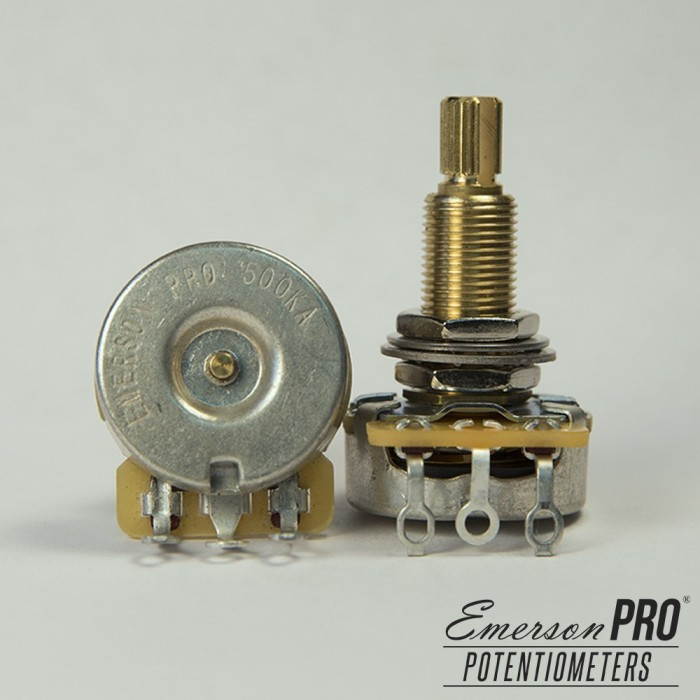 EMERSON PRO CTS 500K 8% TOLERANCE AUDIO TAPER LONG SHAFT POTENTIOMETER
