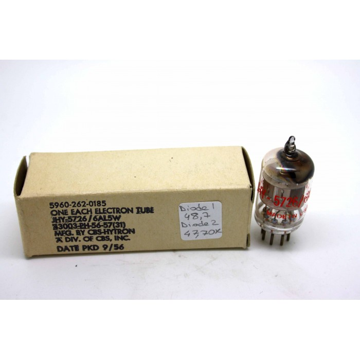 CBS 6AL5W 5726 CV4007 VACUUM TUBE USED HICKOK TV-7D/U TEST