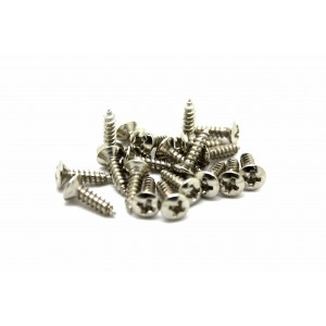 20x CHROME SCREWS FOR PICKGUARD JACK NECK PLATE - TORNILLOS PARA BAJO O GUITARRA