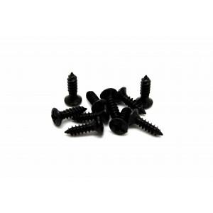 10x BLACK SCREWS FOR PICKGUARD JACK NECK PLATE - TORNILLOS PARA BAJO O GUITARRA