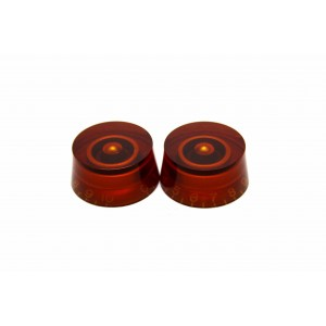 2x AMBER SKIRTED TOP HAT SPEED KNOB FOR GIBSON EPIPHONE STYLE - CTS OR BOURNS