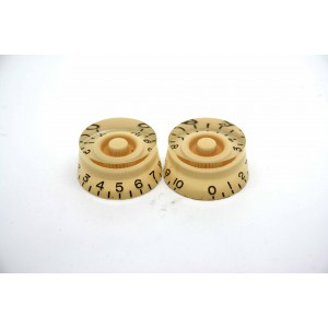 2x CREAM IVORY SPEED KNOB FOR GIBSON EPIPHONE STYLE - CTS OR BOURNS