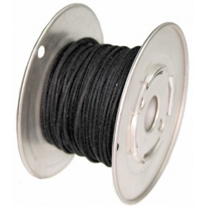 ROLL BLACK 15 Mt GUITAR ELECTRIC 22 AWG VINTAGE CLOTH COVERED WIRE - CABLE INTERNO GUITARRA