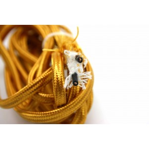 2 METERS GOLD PARALLEL POWER CORD CLOTH WIRE FOR OLD RADIO VACUUM TUBES