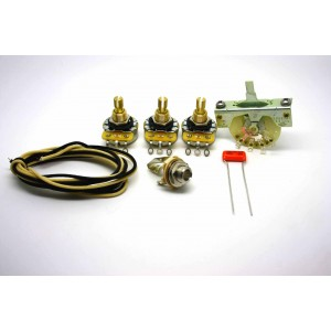 FENDER STRATOCASTER STANDARD WIRING KIT WITH POT 500K, ORANGE DROP CAPACITOR 0.022uf AND 3 WAY SELECTOR