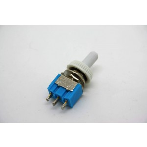 MINI TOGGLE SWITCH DPDT ON-OFF-ON WITH WHITE WATERPROOF TIP - 3 PIN