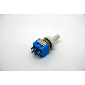 MINI TOGGLE SWITCH DPDT ON-OFF-ON WITH WHITE WATERPROOF TIP - 6 PIN
