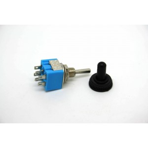 MINI TOGGLE SWITCH DPDT ON-OFF-ON WITH BLACK WATERPROOF TIP - 6 PIN