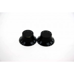 2x LEFT HAND BLACK SKIRTED TOP HAT KNOB FOR GIBSON EPIPHONE STYLE CTS OR BOURNS