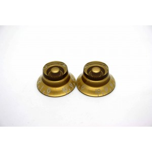 2x LEFT HAND GOLD SKIRTED TOP HAT KNOB FOR GIBSON EPIPHONE STYLE - CTS OR BOURNS