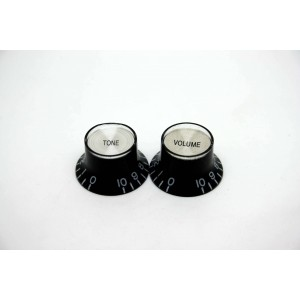 2x LEFT HAND BLACK SILVER VOLUME & TONE TOP HAT KNOB GIBSON STYLE - CTS BOURNS
