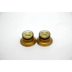 2x LEFT HAND GOLD GOLD VOLUME & TONE TOP HAT KNOB GIBSON STYLE - CTS BOURNS