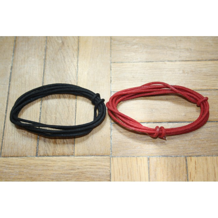 2 Mt GUITAR ELECTRIC 22 AWG VINTAGE CLOTH COVERED WIRE RED & BLACK