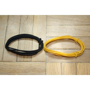 2 Mt BLACK & YELLOW GUITAR ELECTRIC 22 AWG VINTAGE CLOTH COVERED WIRE - CABLE I NTE RNO GUITAR