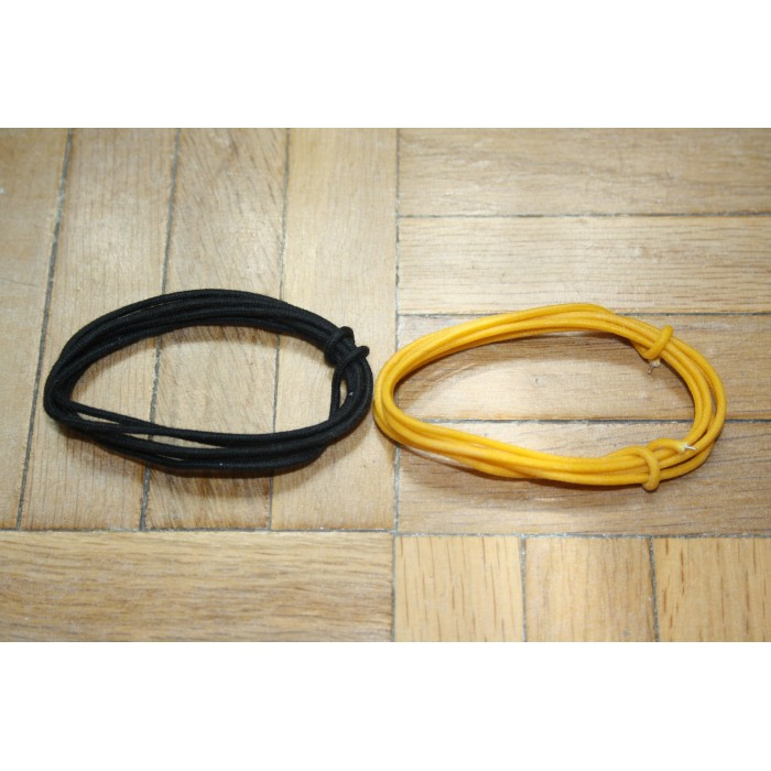 2 Mt BLACK & YELLOW GUITAR ELECTRIC 22 AWG VINTAGE CLOTH COVERED WIRE - CABLE INTERNO GUITARRA