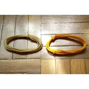 2 Mt WHITE & YELLOW GUITAR ELECTRIC 22 AWG VINTAGE CLOTH COVERED WIRE - CABLE INTERNO GUITARRA