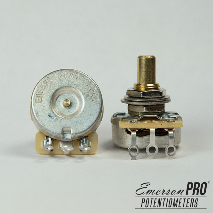 EMERSON PRO CTS 250K 8% TOLERANCE AUDIO TAPER SOLID SHAFT POTENTIOMETER