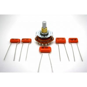 KIT GUITAR FOR VARITONE - ROTARY SWITCH 2 POLE 6 WAY & ORANGE DROP CAPACITORS!