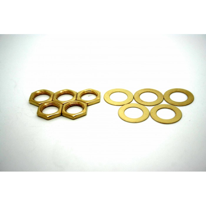 5x GOLD NUTS AND WASHERS FOR AMERICAN USA JACKS AND POTENTIOMETERS