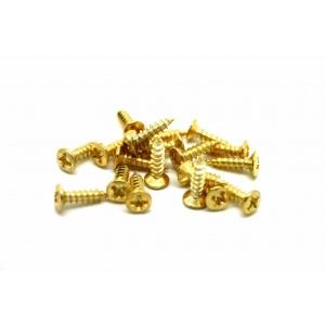 20x GOLD SCREWS FOR PICKGUARD JACK NECK PLATE - BASS OR GUITAR SCREWS
