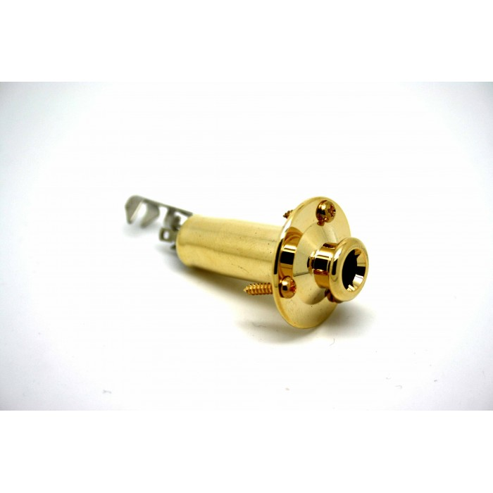 GOLD ENDPIN GUITAR JACK SOCKET SCREW MOUNT STEREO FOR ACOUSTIC