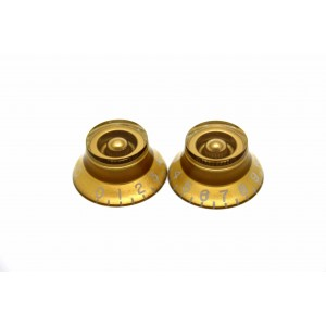2x GOLD SKIRTED TOP HAT SPEED KNOB FOR GIBSON EPIPHONE STYLE - CTS OR BOURNS