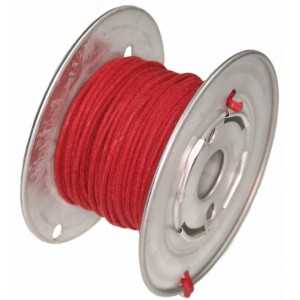 15 Mt RED GUITAR ELECTRIC 22 AWG VINTAGE CLOTH COVERED WIRE - CABLE INTERNO GUITARRA