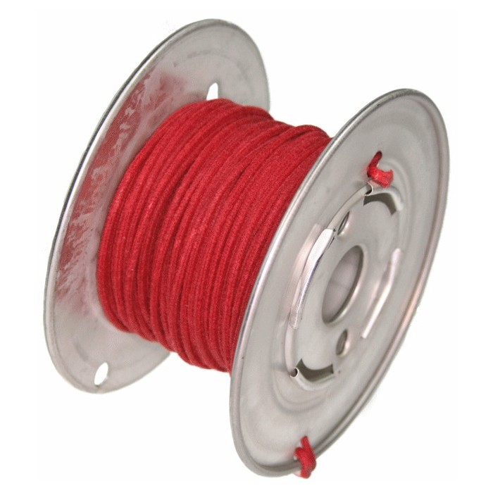 ROLL RED 15 Mt GUITAR ELECTRIC 22 AWG VINTAGE CLOTH COVERED WIRE - CABLE INTERNO GUITARRA