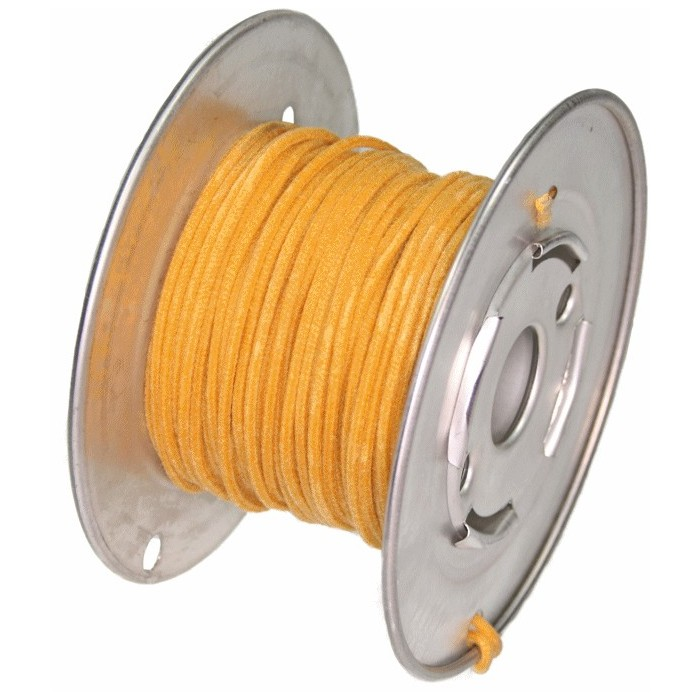 ROLL 15 Mt YELLOW GUITAR ELECTRIC 22 AWG VINTAGE CLOTH COVERED WIRE - CABLE INTERNO GUITARRA