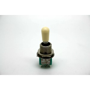 MINI TOGGLE SWITCH 3 WAY ON-ON-ON WITH IVORY TIP OF SWITCHCRAFT