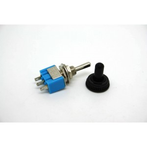 MINI TOGGLE SWITCH SPDT ON- OFF-ON WITH BLACK WATERPROOF TIP - 3 PIN
