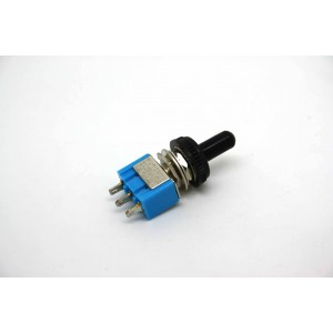 MINI TOGGLE SWITCH SPDT ON-OFF-ON WITH BLACK WATERPROOF TIP - 3 PIN