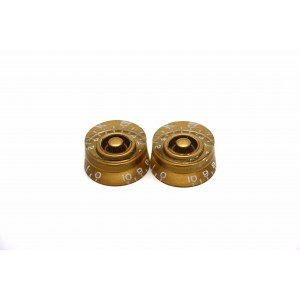 2x LEFT HAND GOLD SPEED KNOB FOR GIBSON EPIPHONE STYLE - CTS OR BOURNS