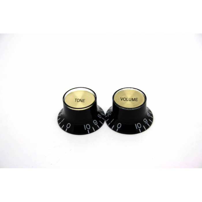 2x LEFT HAND BLACK GOLD VOLUME & TONE TOP HAT KNOB GIBSON STYLE - CTS BOURNS