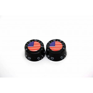 2x BLACK SPEED KNOB AMERICAN USA FLAG FOR GIBSON EPIPHONE STYLE - CTS OR BOURNS