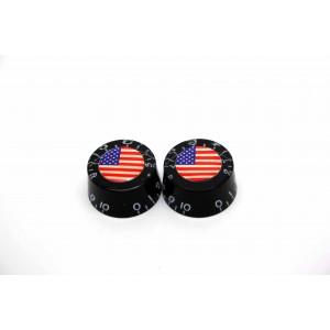 2x BLACK SPEED KNOB AMERICAN USA FLAGGE FÜR GIBSON EPIPHONE STYLE - CTS ODER BOURNS
