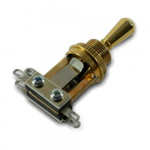 SWITCHCRAFT GOLD SHORT STRAIGHT 3 WAY TOGGLE SWITCH WITH GOLD TIP CAP