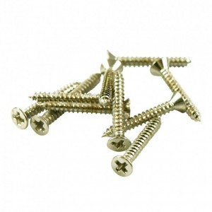 4x NICKEL SHORT HUMBUCKER MOUNTING RING SCREWS FOR NECK POSITION 2 x 5/8 in.