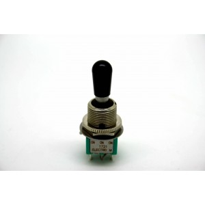 MINI TOGGLE SWITCH 3 WAY ON-ON-ON WITH BLACK TIP OF SWITCHCRAFT