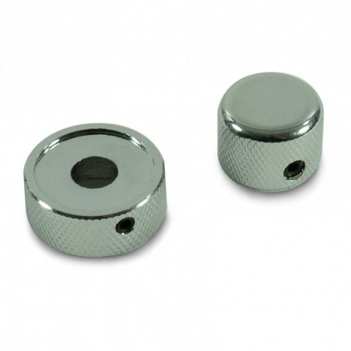 KNOB SET CHROME FOR MOST COMMON CONCENTRIC STACKED DUAL POTENTIOMETERS W/ WRENCH